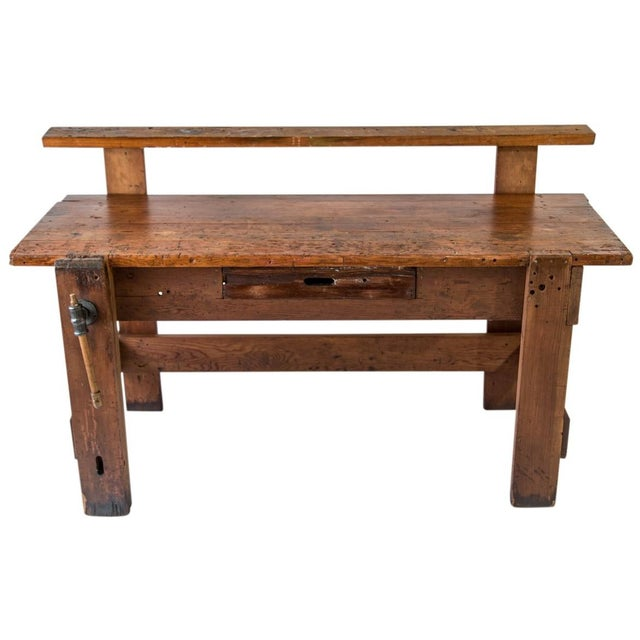 Industrial Rustic Carpenter's Workbench Sideboard For Sale - Image 3 of 13