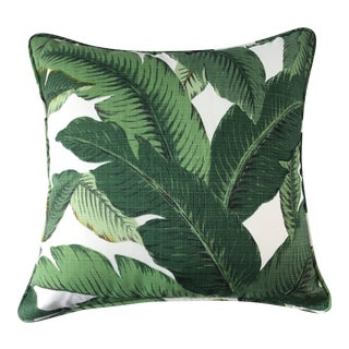 Boho Chic Style Green Palm Leaf Fabric Throw Pillow For Sale