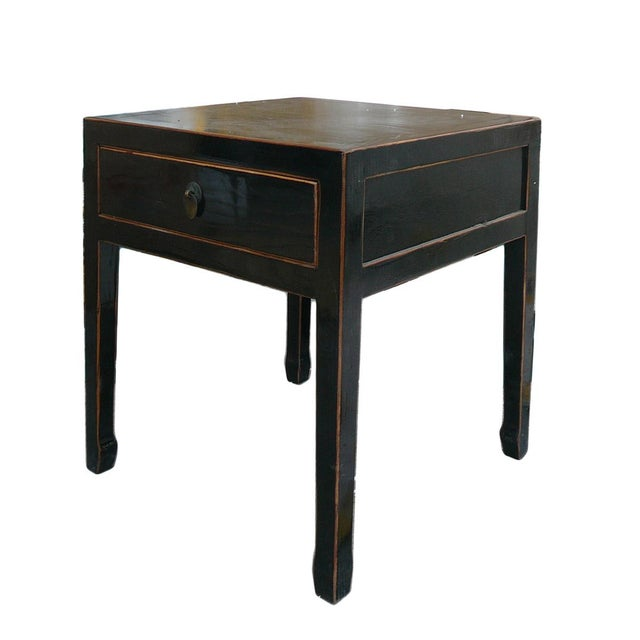 Square Black Single Drawer Side Table - Image 4 of 6