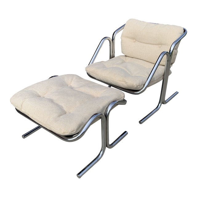 70s Jerry Johnson Chrome Sling Chair & Ottoman For Sale