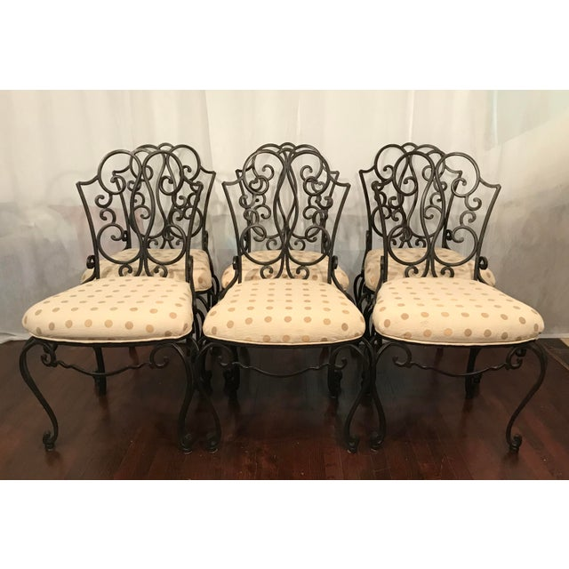 Black Mid Century French Wrought Iron Chairs After Jean- Charles Moreux Set of 6 For Sale - Image 8 of 8