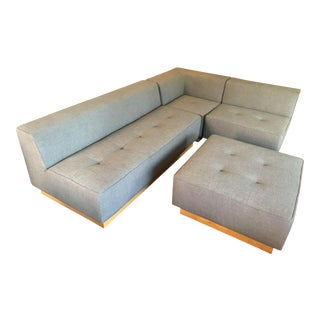 Contemporary West Elm Conover Plinth Gray Fabric Sectional - 4 Pieces For Sale