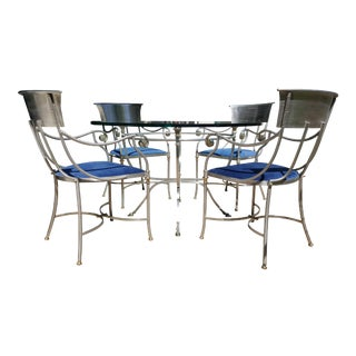 Maison Jansen Bronze and Iron Gueridon Table Dining Set For Sale