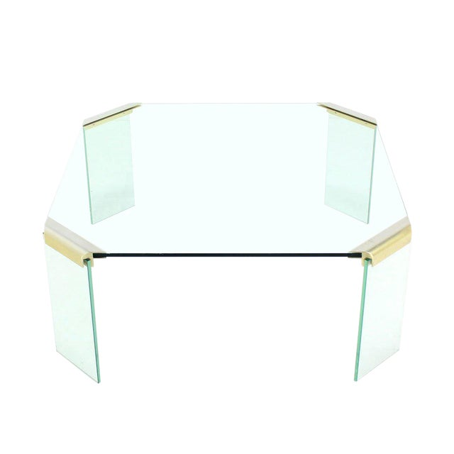 Large Square Glass Top Legs Brass Bracket Base Coffee Table For Sale