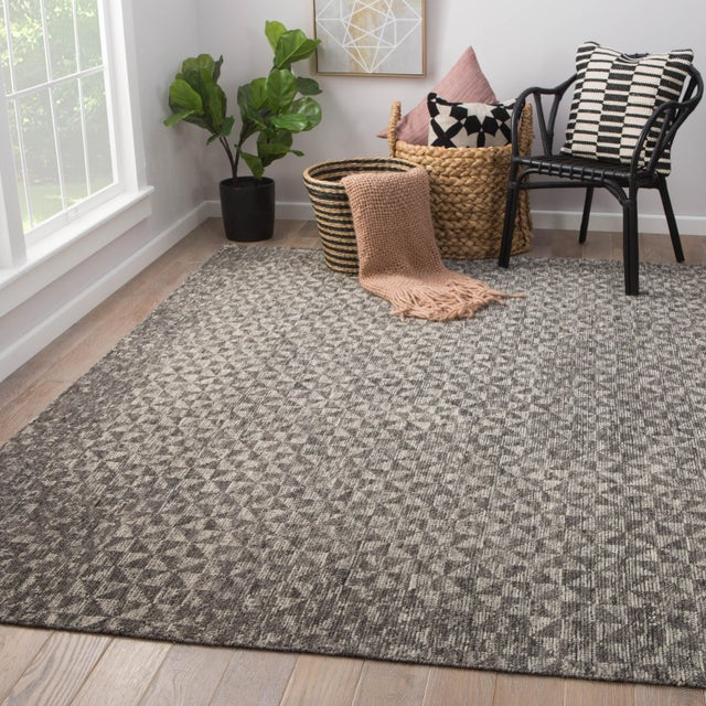 2010s Jaipur Living Zaid Hand-Knotted Geometric Dark Gray/ Ivory Area Rug - 2′ × 3′ For Sale - Image 5 of 6