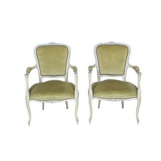 1960's Pair of Painted Louis XVI Armchairs S/2 For Sale