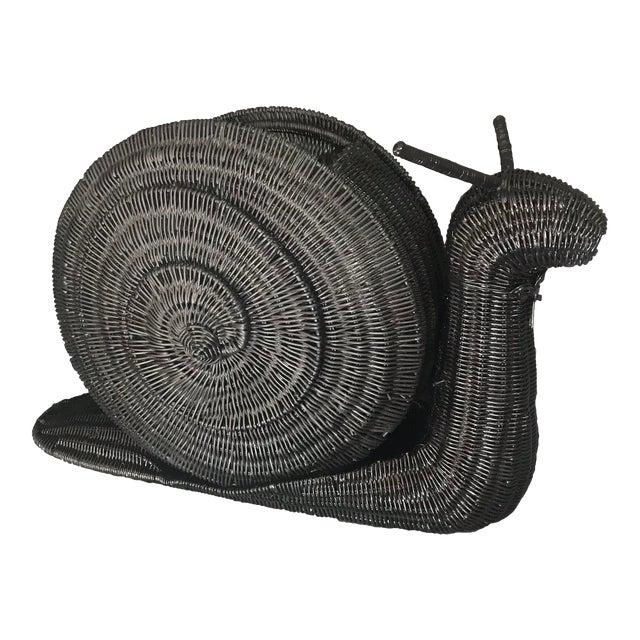 Vintage Snail Wicker/Rattan Basket Magazine Holder For Sale