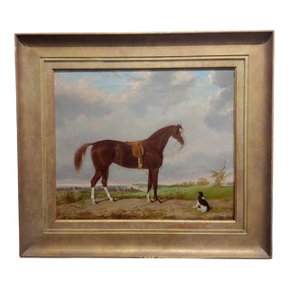 Bay Horse With King Charles Spaniel - 19th Century English Oil Painting For Sale
