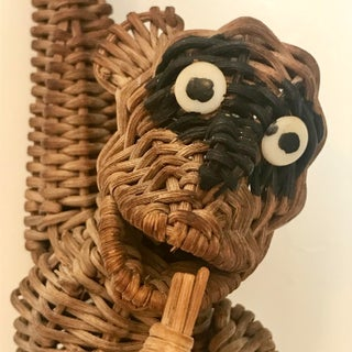 Vintage Mid Century Wicker Rattan Hanging Monkey Figurine Preview