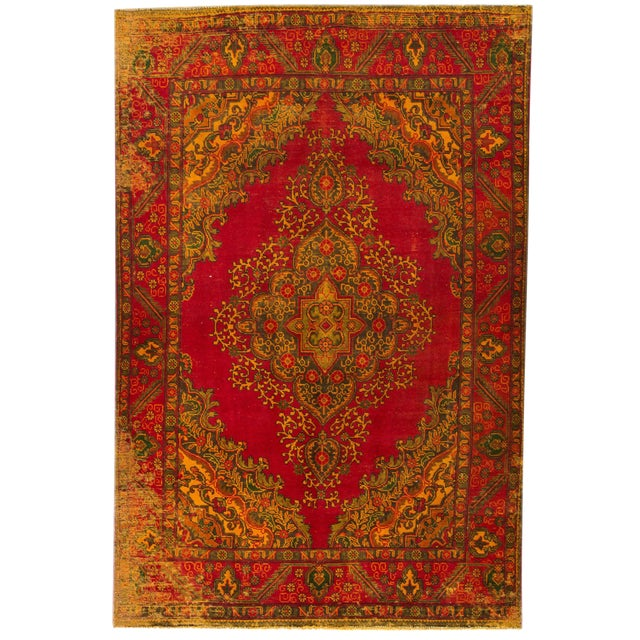 "Apadana - Vintage Persian Overdye, 6'3"" x 9'7"" For Sale"