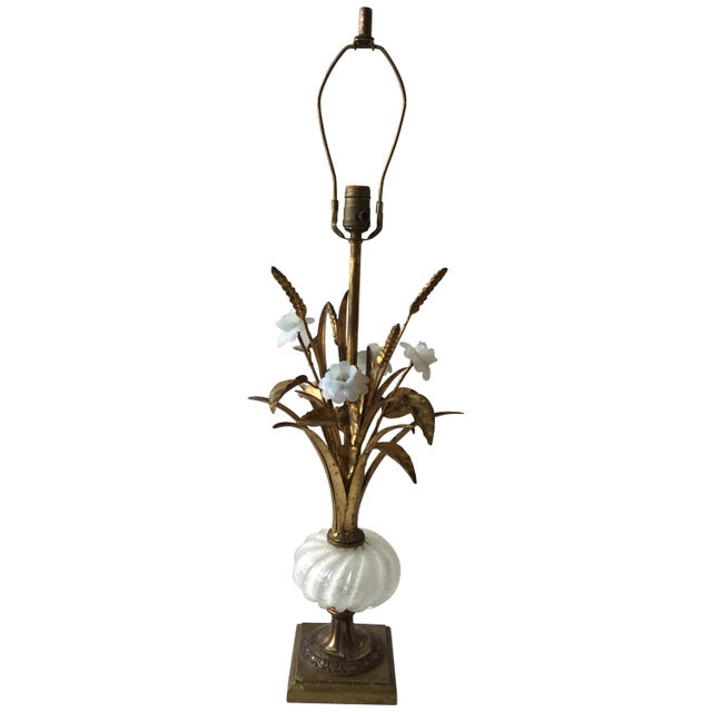 1950s Murano Glass Floral Table Lamp For Sale - Image 11 of 11