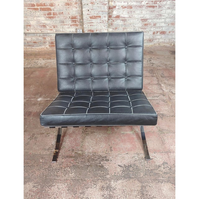 Barcelona Chairs -Beautiful Vintage Black Leather Seats -A Pair For Sale - Image 4 of 11
