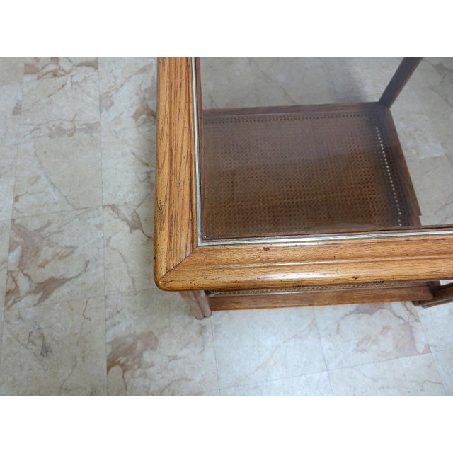 Wood Vintage Mid-Century Campaign Faux Bamboo Carved End Table For Sale - Image 7 of 11