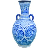 Image of Antique Moorish Ceramic Vase W/ Handles For Sale