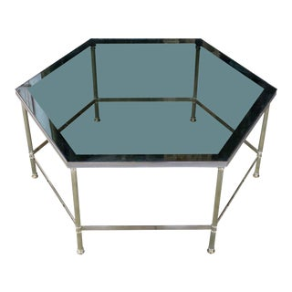 French 1970s Hexagon Brass Coffee Table With Grey Glass