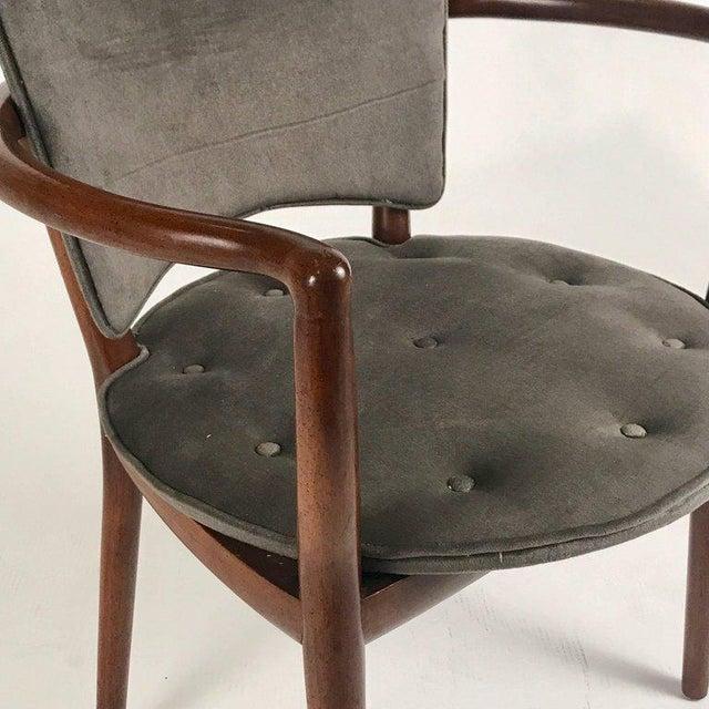 Bert England for Widdicomb Desk/ Armchair in Grey Velvet With Tufting For Sale - Image 9 of 12