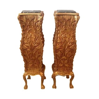 Golf Leaf Chippendale Pillars - A Pair