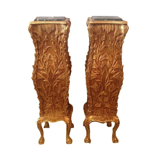 Golf Leaf Chippendale Pillars - A Pair For Sale
