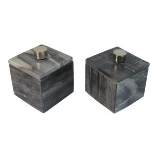 Contemporary Small Square Slate Gray Marble Boxes - A Pair For Sale