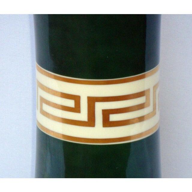 Antique Greek Key Green Gold White Ceramic Lamp - Image 6 of 11