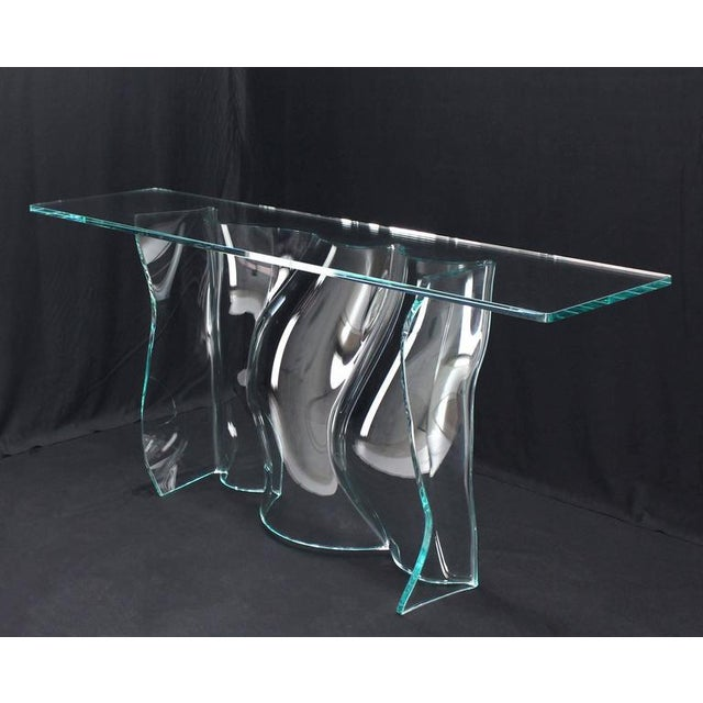 Early 20th Century Outstanding Free-Form Molded Glass Wave Pattern Console Table For Sale - Image 5 of 10