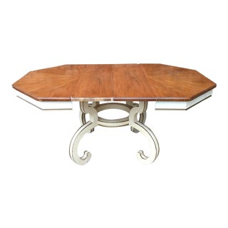 Mid-Century Hollywood Regency Style Walnut Top Dining Table
