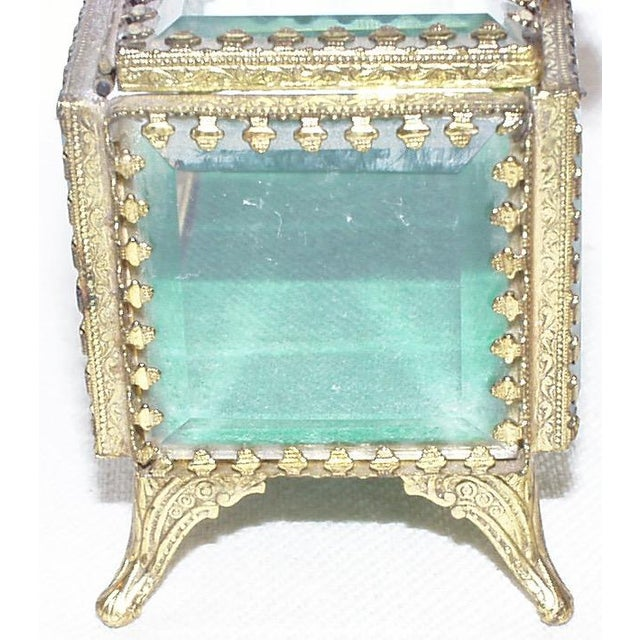 Brass 19th Century French Beveled Glass and Brass Jewel-Trinket Box For Sale - Image 7 of 9
