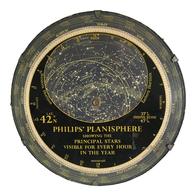 1959 Antique Philips Company Planisphere For Sale
