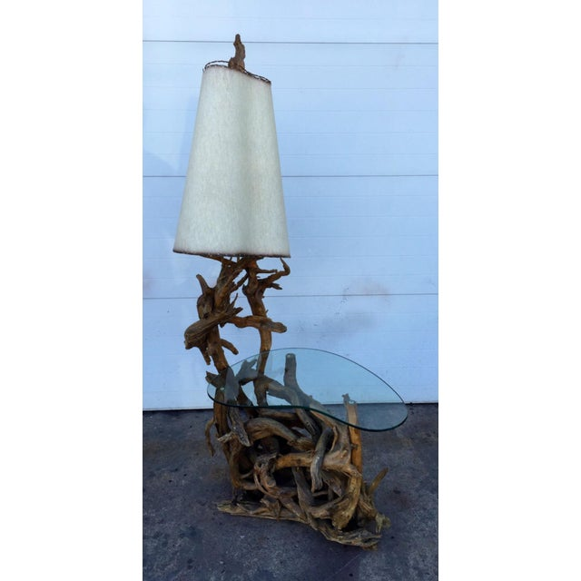 Driftwood Lamp & Built in Table - Image 3 of 6
