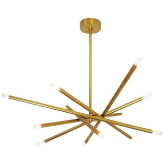 "Blueprint Lighting Model 120 ""Nest"" Sculptural Brass Chandelier For Sale"