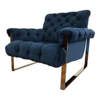 Mid Century Chrome Tufted Lounge Chair For Sale