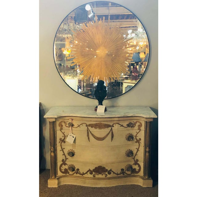 Metal Monumental Gilt Gold & Silver Glass Sunburst Mirrors or Table Top Pair For Sale - Image 7 of 13