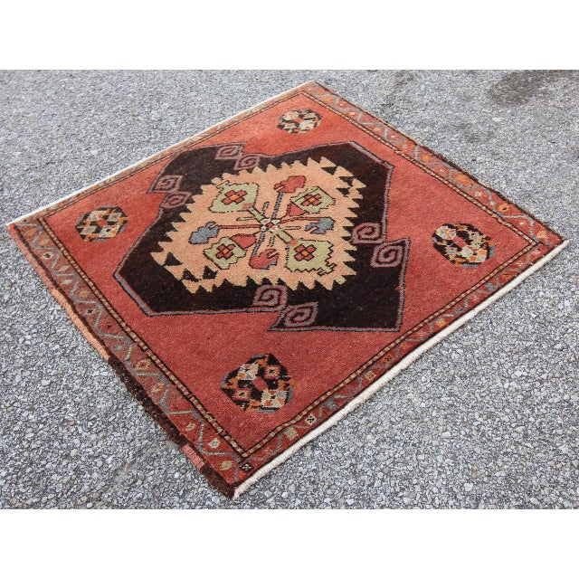 Mid-20th C. Vintage Antique Tribal Oushak Hand Knotted Turkish Rug - 2'5 X 2'4 - Image 2 of 5