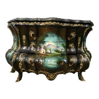 French Louis XV Hand-Painted Marble Bombe Chest Commode Dresser Bronze Mounts For Sale