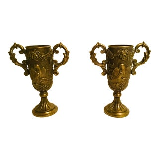 Repousse' Brass Urns - a Pair