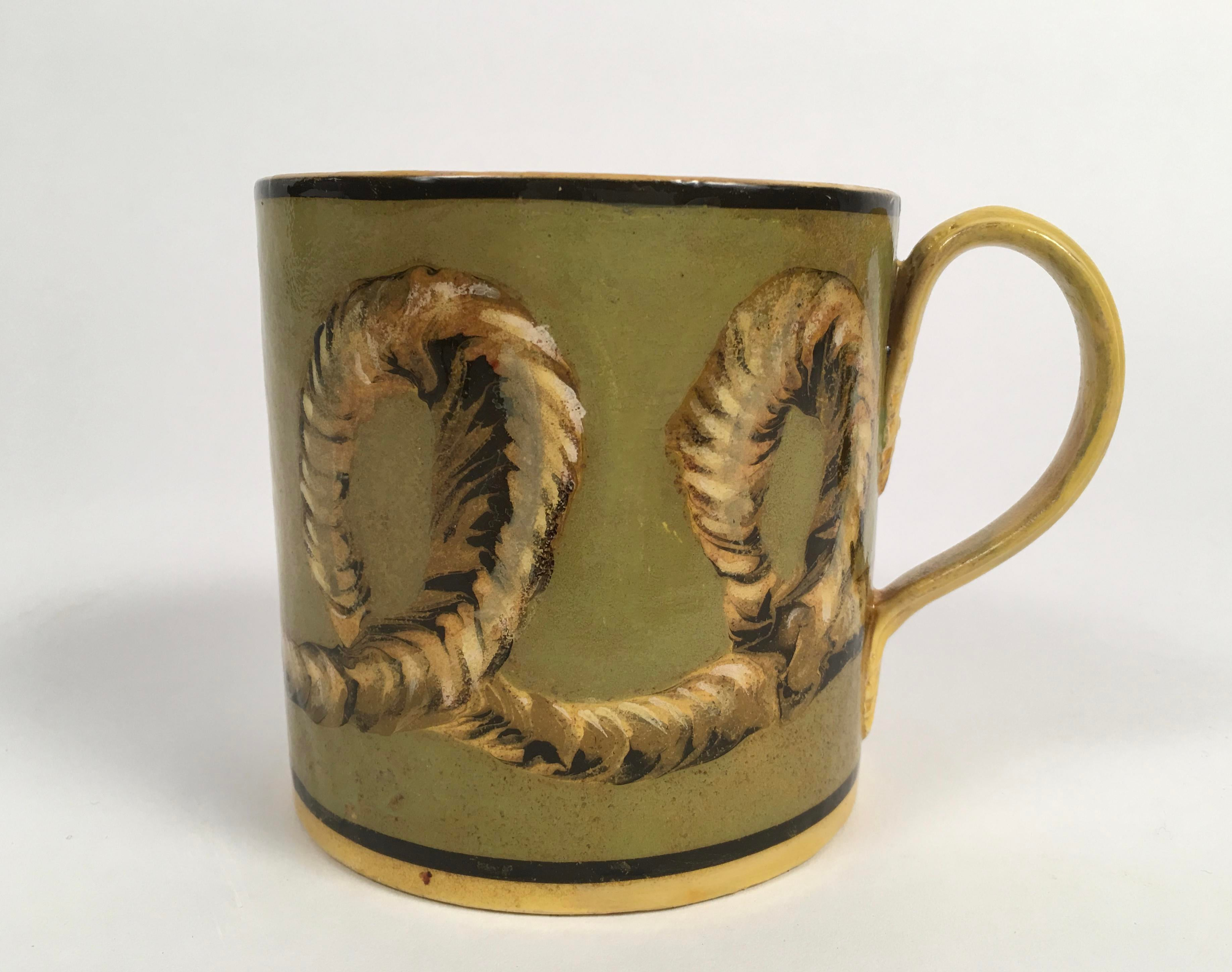French Yellow Creil Mochaware Pottery Mug - Image 2 of 7  sc 1 st  Decaso & World-Class French Yellow Creil Mochaware Pottery Mug | DECASO