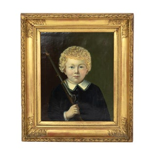 Portrait of a Boy, Dutch Circa 1840, Unsigned. For Sale