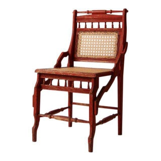 Antique Red Accent Chair With Cane Seat For Sale