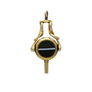 Victorian 14k Gold Agate & Bloodstone Watch Key Pendant For Sale