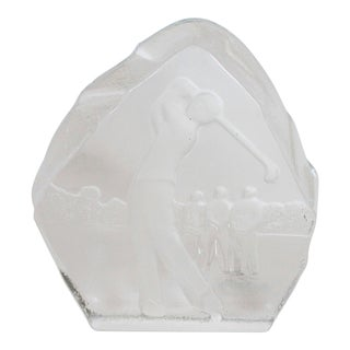 Glass Golfer Paperweight For Sale