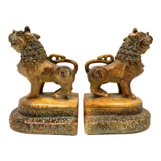 Vintage Foo Dog Bookends - - a Pair For Sale