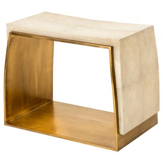 Laurens Stool in Cream Shagreen and Bronze-Patina Brass by R&y Augousti For Sale