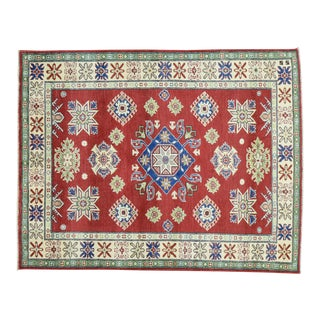 Tribal and Geometric Design Kazak Hand-Knotted Red Rug- 5′ × 6′4″ For Sale