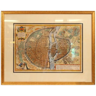 Old Engraving Map of Paris French Munster 16th Century Walled City Framed For Sale