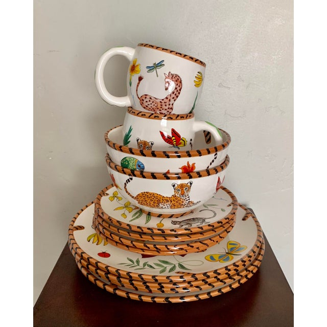 Lynn Chase Jungle Jubilee Hand Painted Colorful Wildlife China Set - 12 Pieces For Sale - Image 11 of 11