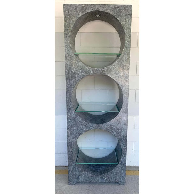 Gray Modern Tessellated Stone Monolithic Bookcase / Vitrine For Sale - Image 8 of 13