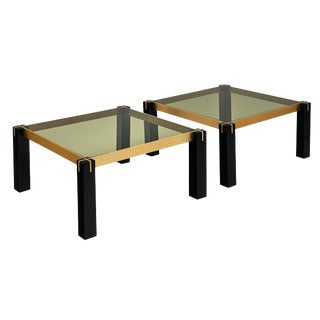 French Modernist Brass and Black Side Tables - a Pair For Sale