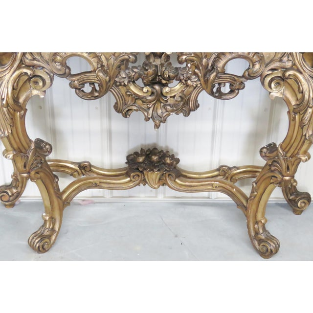 Italian Style Figural Gilt Carved & Marble Console &Mirror For Sale - Image 4 of 10