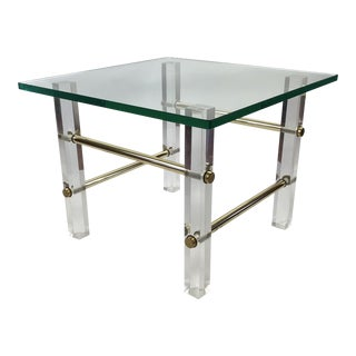 1970's Lucite Brass & Glass Side Table For Sale