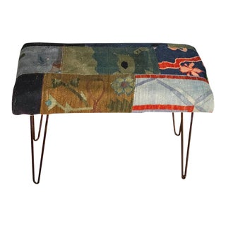 Kilim Bench With Hairpin Legs For Sale